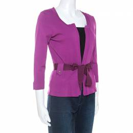 Ch Carolina Herrera Purple Stretch Knit Belted Cardigan XS 252482
