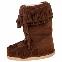 Aquazzura Brown Suede Fringe Detail Lace Up Boho Karlie Boots Size 40 253233