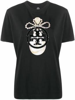 Tory Burch футболка с пайетками и логотипом 61375