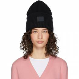 Acne Studios Black Rib Knit Patch Beanie D40009