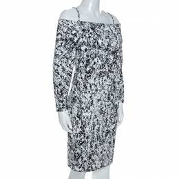 Jil Sander Monochrome Cotton Off Shoulder Risiko Dress M 253359