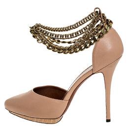 Lanvin Beige Leather Gold-Tone Chain Ankle Strap D'orsay Platform Pumps Size 40 252422
