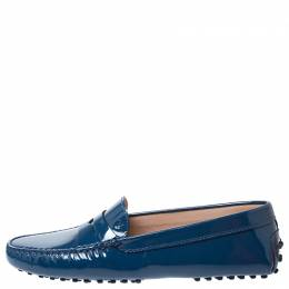 Tod's Blue Patent Leather Gommino Penny Loafers Size 39 253346