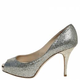 Jimmy Choo Silver Glitter Fabric Luna Peep Toe Platform Pumps Size 36.5
