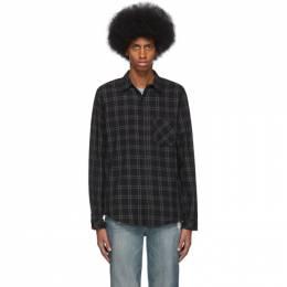 Frame Black and Grey Plaid Brushed Shirt LMSH0207