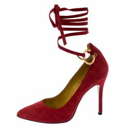 Charlotte Olympia Red Suede Sabine Wrap Pumps Size 36 252511