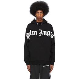 Palm Angels Black Front Logo Hoodie PMBB036R206360011001