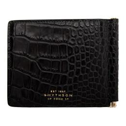 Smythson Navy Croc Mara Money Clip Wallet 1024181