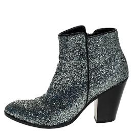 Giuseppe Zanotti Design Silver Glitter Mid Heel Ankle Boots Size 36.5
