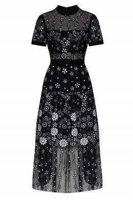 Черное платье с цветочным узором Self-Portrait 532172103