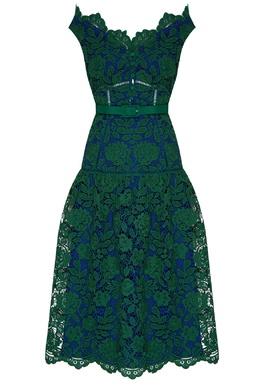 Платье сине-зеленого цвета Self-Portrait 532172117