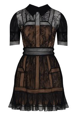 Черное платье с короткими рукавами Self-Portrait 532172115