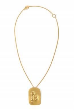 Золотистое колье-цепочка с подвеской Jil Sander 413172401
