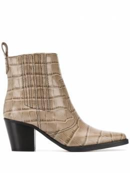 Ganni ковбойские ботинки с тиснением под крокодила S1149
