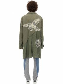 Army & Wool Blend Tweed Trench Coat Greg Lauren 71IWQO012-QVJNWQ2