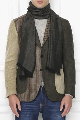 Темно-коричневый шарф с принтом Isaia 2328171571