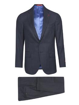 Синий костюм в полоску Isaia 2328171438