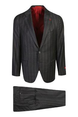 Черный костюм в красную полоску Isaia 2328171440