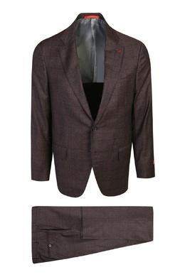 Бордовый костюм из шерсти с узором в клетку Isaia 2328171442