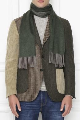 Темно-зеленый шарф с длинной бахромой Isaia 2328171588