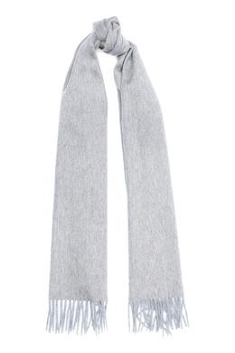Широкий серо-бежевый шарф с длинной бахромой Isaia 2328171587