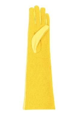 Желтые комбинированные удлиненные перчатки Marina Rinaldi 1511172903