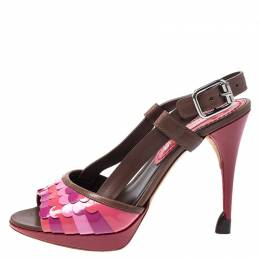 Celine Multicolor Patent and Leather Scalloped Slingback Sandals Size 36 253720