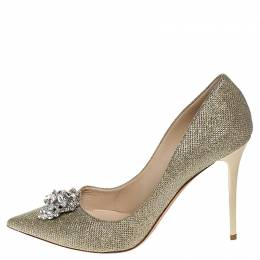 Jimmy Choo Metallic Gold Lamè Glitter Fabric Mamey Crystal Embellished Pointed Toe Pumps Size 41 253744