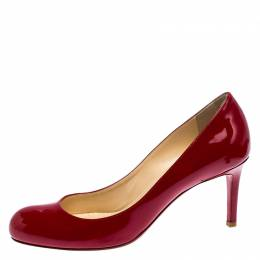 Christian Louboutin Red Patent Leather Simple Pumps Size 37.5 252208