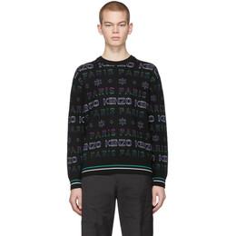 Kenzo Black and Purple Limited Edition Holiday Knit Sweatshirt F965PU4053LF