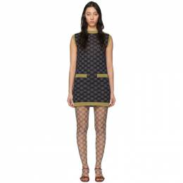 Gucci Navy and Gold Wool Interlocking G Dress 605903 XKAHT