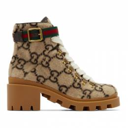 Gucci Beige Wool GG Ankle Boots 578585 G38H0