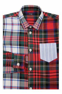 Хлопковая рубашка с узором в крупную клетку Il Gufo 1205173509