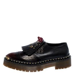 Burberry Burgundy/Black Leather Kiltie Fringe Slip On Sneakers Size 40 251583