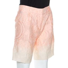 Ermanno Scervino Peach Jacquard Cotton Silk Ombre Bermuda Shorts S 253395
