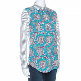 Etro Multicolor Paisley and Striped Print Cotton Button Front Shirt S 253402