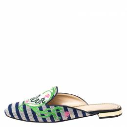 Charlotte Olympia Canvas Multicolor Amour Flat Mules Size 39