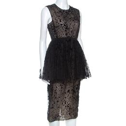 Giambattista Valli Black Tulle Flocked Peplum Midi Dress S 253419