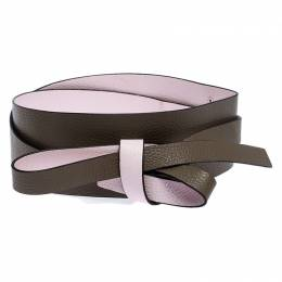Kenzo Pink/Brown Leather Reversible Wrap Waist Belt 253777