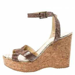 Jimmy Choo Brown Shimmering Leather Papyrus Cork Wedge Ankle Strap Sandals Size 40 253807