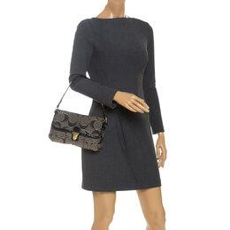 Coach Black/Grey Signature Canvas and Patent Leather Shoulder Bag 252504