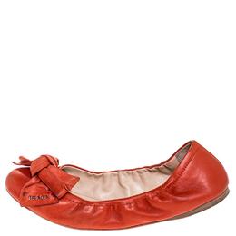 Prada Red Leather Bow Logo Scrunch Ballet Flats Size 40.5 253742