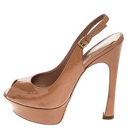 Saint Laurent Beige Patent Leather Peep Toe Platform Slingback Sandals Size 39 253741