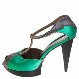 Marni Green/Grey Satin Peep Toe T Strap Platform Sandals Size 40.5 253811