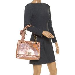 Lanvin Peach Holographic Python Happy Shoulder Bag 251898