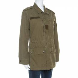 Saint Laurent Olive Green Cotton Zip Front Jacket M 253485