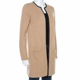 Ralph Lauren Beige Cashmere Knit Leather Trim Cardigan M 253495