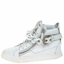 Giuseppe Zanotti Design White Leather Metal Chain Embellished High Top Sneakers Size 41