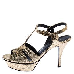 Saint Laurent Metallic Gold Lizard Embossed Leather Tribute Sandals Size 37 253190