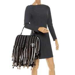 Emilio Pucci Black Fabric Fringe Macrame Shoulder Bag 252580